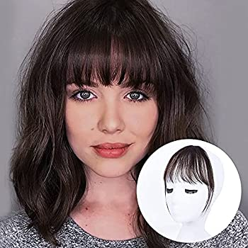 BOGSEA Bangs Hair Clip in Bangs Human Hair Wispy Bangs Fringe with Temples Hairpieces for Women Clip on Air Bangs Flat Neat Bangs Hair Extension for Daily Wear  Dark Brown