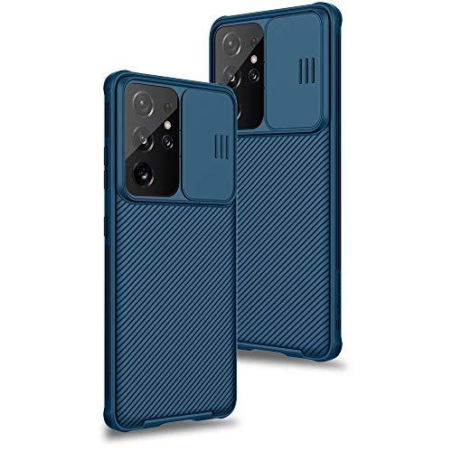 XTCASE für Samsung Galaxy S21 Ultra Hülle, Ultra Dünn Handyhülle mit Kameraschutz - Kamera Schutz mit Schieber, Premium Hybrid PC + TPU rutschfest Stoßfest Kratzfest - Blau
