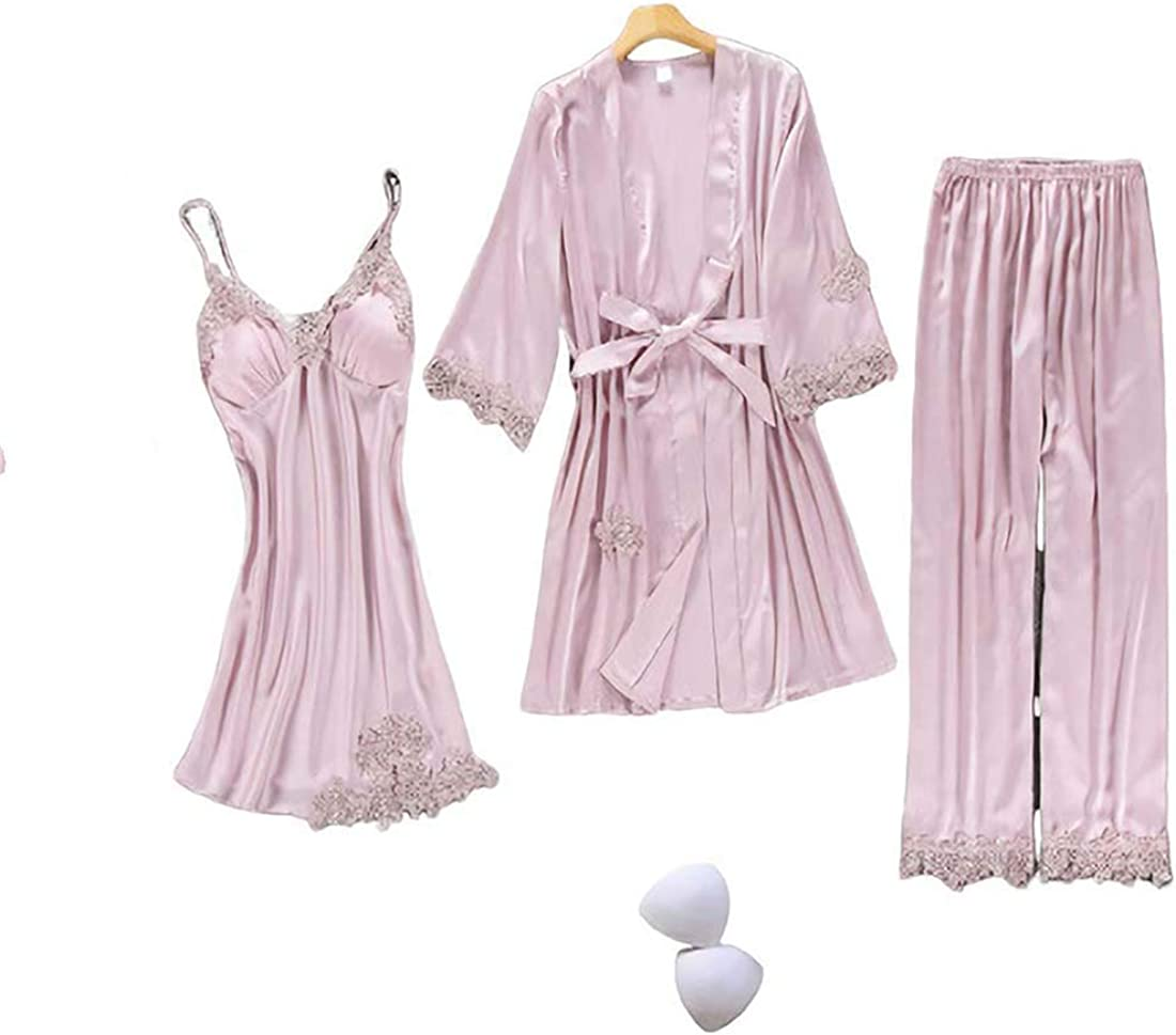 70%OFFアウトレット LELEBEAR Women'S Blush Silk Pajamas 今だけスーパーセール限定 5 4 Piece Floral 3 2 Sa Lace