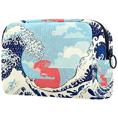 Bolsa de maquillaje personalizada para brochas de maquillaje, bolsas de aseo portátiles para mujeres, bolso cosmético, organizador de viaje Big Waves