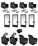 BR Beauty 4-Operator Allegro Gold Salon Package for Salons, (4) Aria Styling Chairs, (4) Allegro Styling Stations, (2) Aria Dryer & Chair Combos, (2) Lexus Backwash Units & 1 Child Booster Seat, BR-4OPALLEGROGOLD