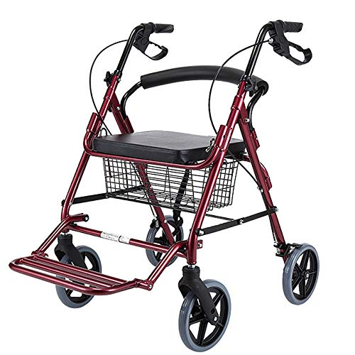 Rollator Walker with Seat 8 Inch Wheels, Seniors Lightweight Foldable Walker with Basket& Backrest& Footrest, for Outdoor All Terrain (Color : Red)