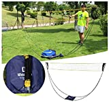 Portable Badminton Net Set with Stand Carry Bag, Folding Volleyball Tennis Badminton Net – Easy Setup for for Outdoor/Indoor Court, Backyard, Beach No Tools or Stakes Required