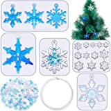 18 Pieces Snowflake Resin Molds with Snowflake Sequins and Nylon Thread, DIY Silicone Casting Soap Mold Christmas Epoxy Resin Mould for DIY Crafts Necklace Earrings Pendants DIY Wedding Decors