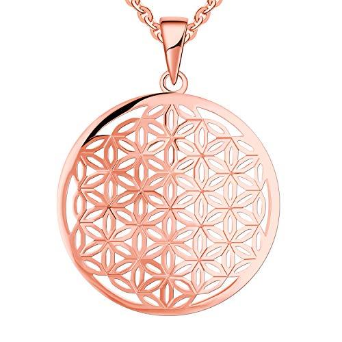 JO WISDOM Vrouwen Levensbloem Ketting,925 Sterling Zilveren Familie Bloem des Levens Munt Hanger Ketting,Mandala Amulet Juwelen