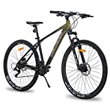 Hiland 29 Inch Mountain Bike for Men Adult Bicycle Aluminum Hydraulic Disc-Brake 16-Speed 17 Inch with Lock-Out Suspension Fork Urban Commuter City Bicycle Gold Black