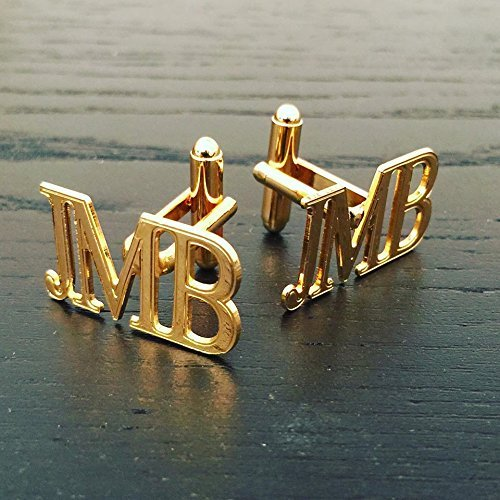 Personalized Engraved Name Gold 3 Initial Stamp Cufflink Christmas Gift Father/'s Gift Custom Groom Jewelry Keepsake Memory Cuff links