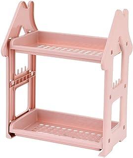 収納ボックス 多階建てのキッチン小さな家ラック洗面所トイレ収納ラックバスルームバスルームベッドルームデスクトップオーガナイザーキッチンシェルフパンチフリーバスルームバスルームシェルフ (Color : ピンク)