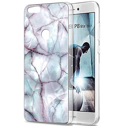 Pnakqil Funda Huawei P8 Lite 2017, Silicona Transparente con Dibujos Diseño Slim Gel TPU Antigolpes Ultrafina de Protector Piel Case Cover Cárcasa Fundas para Movil Huawei P8Lite, Linea de marmol