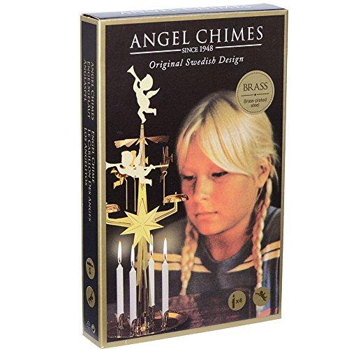 Original mässing svenska ängelklockor och 4 ljus – snurrande festliga klockspel