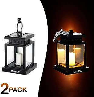MakeABC Solar Lantern Flickering Candles Solar-Light Umbrella Waterproof Outdoor Hanging Lights Candle Set of 2