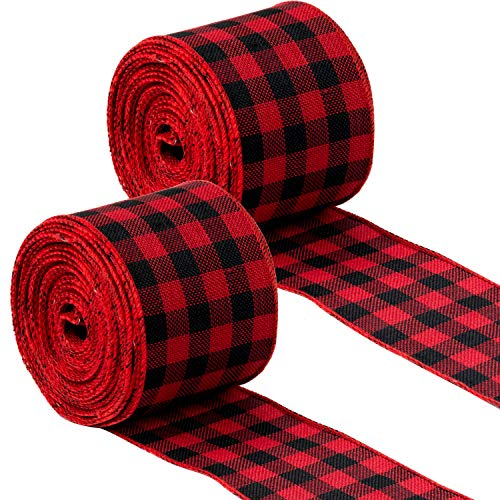 LaRibbons 2 Rolls Wired Edge Ribbon - Black and Red Plaid Ribbon Perfect for Christmas DIY Crafts Decoration, Gift Wrapping - 2.5 inch x 10 Yard Each Roll