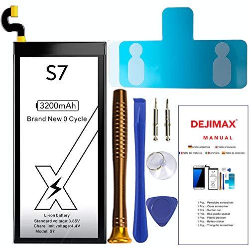 DEJIMAX S7 Akku, 3200mah Hohe Kapazität Akku für Samsung Galaxy S7/EB-BG930ABE Ersatzakku mit Reparaturset Werkzeug