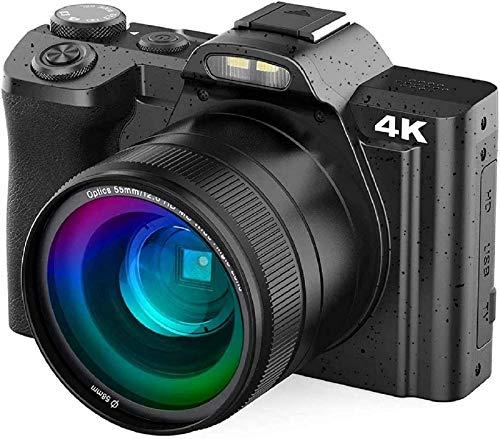 Videocamera Digital, Rokurokuroku 4K Fotocamera Digitale Compatta Ultra HD Wi-Fi Videocamera Vlogging, 48 MP, 16X Digital Zoom, LCD Inclinabile 3,5', Video Recording, 2 Batterie, Nero