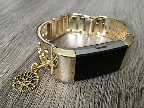 AN Silber Band für Fitbit Laden 2HR Activity Tracker Metall Armband Blume Design Armreif für Fitbit Laden 2Herzfrequenz Monitor
