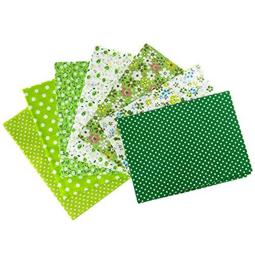 Stoffpaket : 7 Stoffe aus Baumwolle, Baumwollstoffe, Fat Quarters in grün fürs Nähen, Quilting u. Patchwork; Größe: je 50 x 50 cm; Muster: Punkte und Blumen