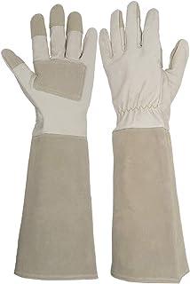 دستکش های چرمی باغبانی بلند آستین ، مقاوم در برابر سوراخ کردن ، کف دست و چرم Pigskin و انگشتان دست تقویت شده ، دستکش تقویت شده ProRose Pruning Floral Guntlet Garden Guntlet for Women for Women and Women (بزرگ ، بژ)