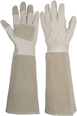 Etglove Long Sleeve Leather Gardening Gloves,Puncture Resistant,Breathable Pigskin Leather Gauntlet,Rose Pruning Floral Gauntlet Garden Gloves for Women and Men (Medium, Beige)