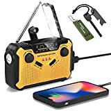 Emergency Weather Radio Solar Powered Hand Crank Radio - 2500mAh Portable AM/FM/WB Weather Alert Radio Power Bank w Flashlights Cell Phone Charger SOS Alarm Fire Starter Outdoor Camping Survival