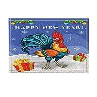 Assanu 新年の風呂敷物のための雪の上のボックスでクリスマスの装飾漫画チキン滑り止め玄関マット玄関屋内正面玄関マットキッズバスマット15.7x23.6inバスルームアクセサリー