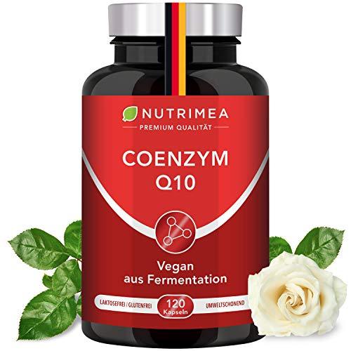 Coenzym Q10 Hochdosiert | 120 Vegane Kapseln für 4 Monatskur | Premium Qualität: Natürliches Q10 aus pflanzlicher Fermentation Ubiquinon statt Ubiquinol Anti-Aging Antioxidans für Haut Nerven Energie