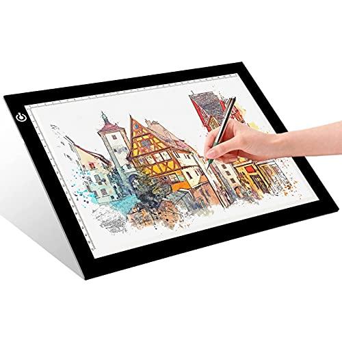 Kacsoo A2 Tableta de Luz, Ultradelgada LED de tres Velocidades Atenuación A2, Brillo de Atenuación Escalonado Ultrafino, Tablero de luz LED A2 para Artistas, Dibujo, Dibujo, Animación