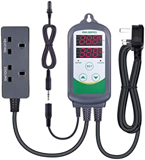 Inkbird ITC308S Aquarium Temperature Controller with Submersible Probe Heating Cooling Outlets Thermostat for Heater and C...