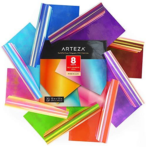 Arteza Hologramm Plotterfolie selbstklebend, 30.48 x 30.48 cm, 8er-Set Vinylfolie, mehrfarbige Opal-Bastelblätter in Blau und Grün, leicht zu schneiden, Vinyl Klebefolie für Innen- und Außen