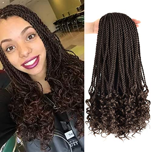 Senegalese Twist Crochet Hair,Box Braids 18'-5 Packs 30 Strands/Pack Wavy with Curly Ends Synthetic Hair Extensions(4#)