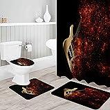 MQWEMJ Duschvorhang Set, Schwarz-rot-gelbe Gitarre Badezimmer Matte rutschfeste, Polyester Durable Wasserdicht Duschvorhang mit 12 Haken Home Badezimmer Dekor 180×180 cm