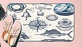 DIIRCYB Felpudo Lavable Antideslizante Interior Exterior de la Estera de la Puerta,Nautical Hand Drawn Vector Set,Alfombra de Cultivo de Bricolaje, para la Alfombra casera del Piso del Cuarto de ba?o
