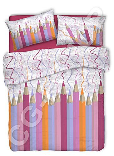 Confezioni.Giuliana PARURE Copripiumino Una Piazza Singolo 1P MATITE Colorate PASTELLI 5 Colori (Rosa)