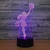 Cheerleader Girl Lights Cool Night Light Color Visual Sleep Table Lamp Dispositivo de decoración del hogar Novedad Team Game Gift