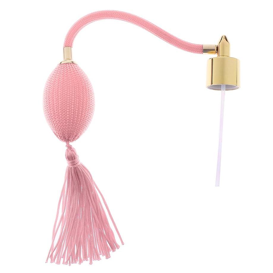 裁量勤勉な浸したFenteer ヴィンテージ 詰め替え可能 香水ボトル アトマイザー パフバルブ チューブ 交換パーツ 18mm 全5色 - ピンク