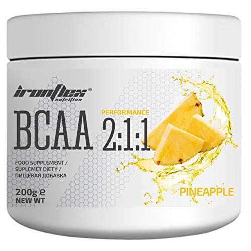 Iron Flex BCAA 2-1-1-1 Pack - Branched Chain Amino Acids in Powder - Muscle Regeneration - Anticatabolic (Pineapple, 200g)