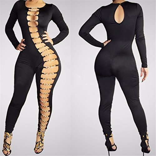 Long Sleeve Hollow Out Sexy Clubwear Women Bodycon Long Jumpsuit Rompers