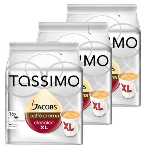 Tassimo Jacobs Caffè Crema XL, Rainforest Alliance Vérifié, Lot de 3, 3 x 16 T-Discs