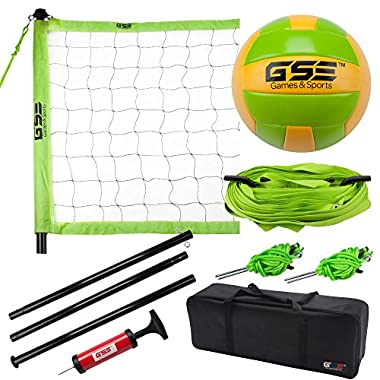 GSE Games & Sports Expert Deluxe Portable Lawn, Backyard, Park and Beach Game Set (Badminton/Volleyball) (Professional Volleyball Set)