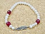 Feder-Armband mit Süßwasserperle und Achat-Kugel