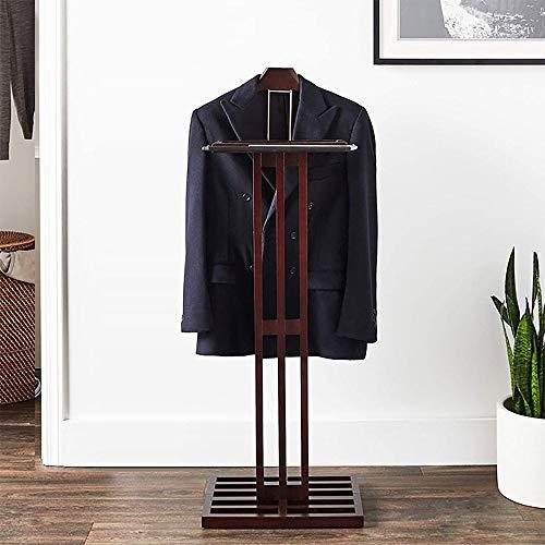 LOHOX Galán De Noche Mueble Madera Maciza para Colgar Camisas con Balda y Base Estable Pantalones Baño Oficina Dormitorio para Hombre- W 43 x H 115CM