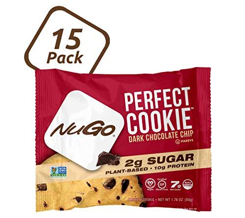 NuGo Perfect Cookie, Dark Chocolate Chip, 10g Vegan Protein, 2g Sugar, 190 Calorie, Gluten Free, 15 Count by AmazonUs/NUGD9