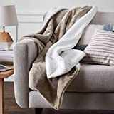 AmazonBasics Polyester Twin Sherpa Blanket, Beige, Taupe, Pack of 1