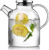 Jarra de vidrio jarra teiere water con tapa helada y mango Borosilicato Glass oruga resistente al calor para té caliente agua fría café helado café café jugo de café bebida