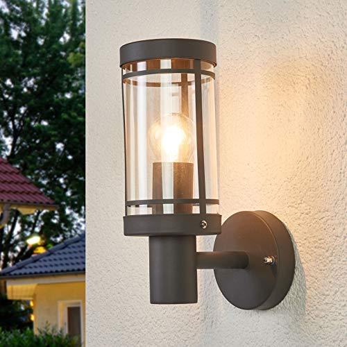 Lindby Wandleuchte außen 'Djori' (spritzwassergeschützt) (Modern) in Schwarz aus Edelstahl (1 flammig, E27, A++) - Außenwandleuchten, Wandlampe, Led Außenlampe, Outdoor Wandlampe für