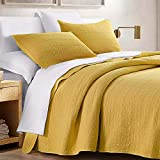 HORIMOTE HOME Quilt Set Queen Size Yellow, Classic Geometric Spots Stitched Pattern, Pre-Washed Microfiber Chic Rustic Look, Ultra Soft Lightweight Quilted Bedspread for All Season, 3 Pieces