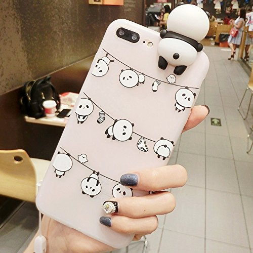 FATEGGS Accesorios para teléfonos móviles para iPhone 8 Plus & 7 Plus Beard Pandas Pattern 3D Lovely Papá Panda Florero Drop Town Funda Atrás Casos Cubre (Size : Ip7p3524b)