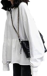 [ニューネ] ルージング フリル 切り替え t シャツ ティーシャツ ロンt プルオーバー スウェット M~2XL レディース