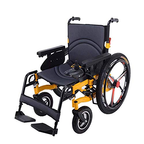 SISHUINIANHUA Rollstuhl Leichtgewichtiger zusammenklappbarer Elektro-Doppelfunktionsakku (Lithium-Ionen-Akku), Aluminiumrahmen, mit Elektroantrieb oder als Bedienungsanleitung