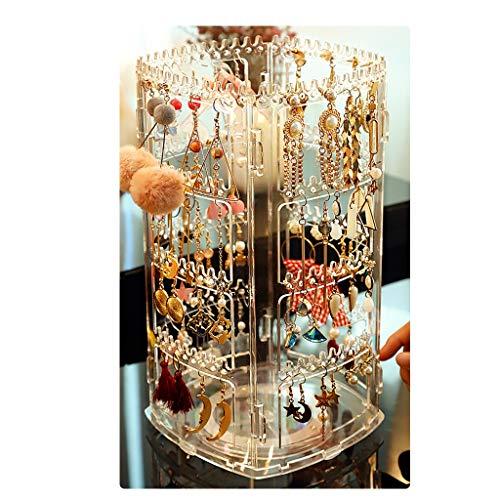 Pendiente joyero Soporte de exhibición Giratorio Percha de Collar Multicapa Perchero para Joyas de Gran Capacidad para niñas (Color : Clear, Size : 16 * 29cm)
