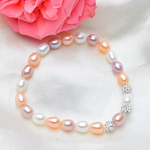 QiuYueShangMao Pulseras con dijes de Perlas de Agua Dulce múltiples Cuenta de Perlas Naturales para Regalo de Mujer Cadena de la Amistad Regalo de cumpleaños para mamá, Esposa, Novia.